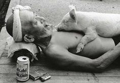 Resting on the street, smoking, drinking, and letting a pig sleep on your chest