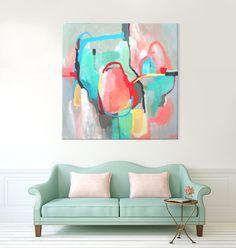 Grey abstract painting print green painting by SarinaDiakosArt