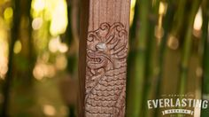 This beautiful Japanese dragon was carefully carved into this solid piece of Ipe wood by hand.
