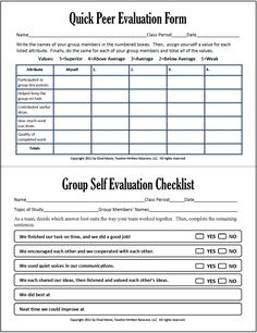 Group and peer assessment in group work -Cooperative Learning: 7 Free PDF Assessment Instruments Peer evaluation and group work individual checklist. Teaching Strategies, Teaching Tips, Instructional Strategies, Teaching Art, Science Classroom, School Classroom, Preschool Science, Formative Assessment, Student Self Assessment