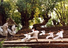 A tai chi class for guests held in the amphitheater at the Mandarin Oriental Dhara Dhevi in Chiang Mai.