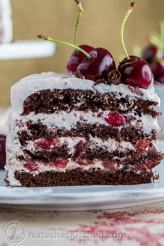 This drunken cherry chocolate cake is scrumptious and is as good as it looks. Cherries are soaked in rum and the layers are moist from cherry rum syrup.
