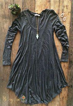 Kodie Dress - Charcoal – Bungalow 123