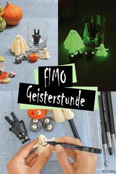 Leuchtende Fimo-Geister uns Schreckgestalten I © OZ-Verlags-GmbH 2015 Halloween Diy, Happy Halloween, Halloween Costumes, Pajama Party, Ghostbusters, Diy Paper, Polymer Clay, Pottery, Creative