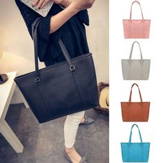 Material: PU Leather  5 Colors: Pink, Gray, Brown, Blue, Black  Size: 35 x 8 x 30cm/13.7 x 3.1 x 11.7inch  Strap Drop: 26cm  Feature: Breif Solid Color  Style: Big Tote  Occasion: Casual  It\'s a very useful accessory, also as a gift.  The bag style is fashion, unique, simple and generous, the materials are comfortable, there are many colors for you to choose.  Note: Due to the difference between different monitors, the picture may not reflect the actual color of the item. We guarantee the…