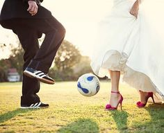Since my fiancé and I met playing soccer and still play together!  :) This would be a lovely picture to do on our wedding day!  Soccer Wedding, Our Wedding, Wedding Photos, Wedding Engagement, Wedding Styles, Wedding Bells, Dream Wedding, Bridal Pics, Wedding Attire