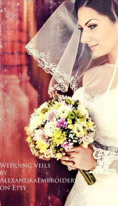 Two tier embroidered wedding veil. Bridal veil with blusher. Two tier embroid Short Wedding Hair, Wedding Hair And Makeup, Wedding Veils, Wedding Dresses, Burnt Hair, Homemade Blush, Bridesmade Dresses, Short Veil, Blusher