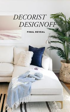 Decorist DesignOff Living Room Makeover Final Reveal with Interior Define Caitlin Sofa, and artwork by Lani Trock from Tappan Collection