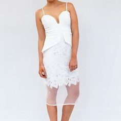 """Girls get race ready in this """"WHITE WONDERLAND"""" Dress  New to Meek To Chic today! #new #newarrivals #lace #dress"""