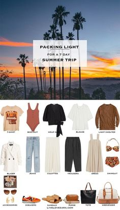 Cool Summer Outfits, Cute Outfits, Casual Summer, Summer Clothes, Travel Wardrobe, Capsule Wardrobe, Summer Packing Lists, Packing Light Summer, Packing Ideas