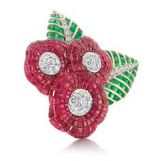 Gold, Platinum, Mystery-Set Ruby and Emerald and Diamond Flower Clip-Brooch, Van Cleef & Arpels