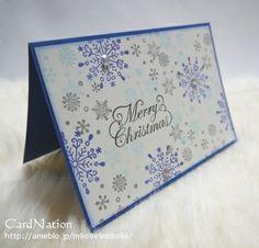 スノーフレークのスタンプとラインストーンで。静かなきらめきのクリスマスカードです。