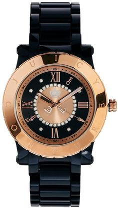 Juicy Couture Black Black Ladies Watch with Rose Gold Dial