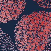 Ming Chrysanthemum in Navy and Coral Pink by willowlanetextiles, click to purchase fabric