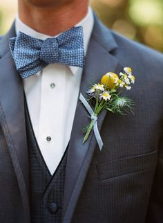 Bow ties look stylish and are very trendy today, so think of a pretty bow tie for your groom, and maybe groomsmen also. The options with a bow ties are endless: with and without jackets, with and without vest. Wedding Suits, Blue Wedding, Wedding Bells, Dream Wedding, Copper Wedding, Wedding Cakes, Blue Tux, Blue Bow Tie, Gray Tux