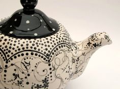 Tea Time In Black and White by poppyhousepottery on Etsy, $125.00