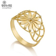 Gold ring 24k gold plated Jewelry flower of life door DINARjewelry, $116.00