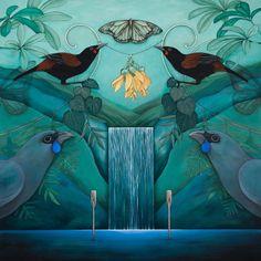 Discover original artwork, limited edition giclee prints, and sculptures from New Zealand Artist, Kathryn Furniss. Tui Bird, Symbolic Art, New Zealand Art, Nz Art, Bottle Cap Art, Maori Art, Bird Illustration, Illustrations, Collaborative Art