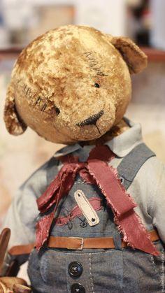 Купить Коленька - бежевый, тедди медведи, Плюшевый мишка, теддик, тедди мишка, винтажная фурнитура