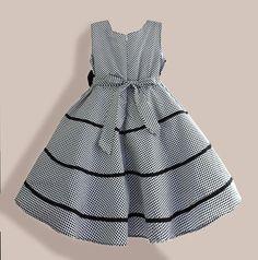 Aliexpress.com: Comprar Patrón de la tela escocesa Girls vestidos negro rayas Summer girl Dress para vacaciones de gran tamaño casual ropa de niños de ropa de moda fiable proveedores en Aliexpress Baby e Kids