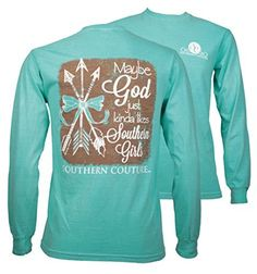 6b3bbd99 Southern Couture SC Comfort God likes Southern Girls on Long Sleeve Womens  Fit Shirt - Chalky Mint, Small