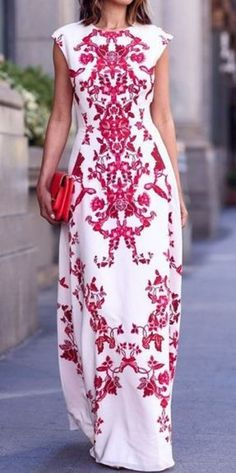 So Gorgeous! White and Red Flowers Print Elegant Chiffon Maxi Dress Perfect for a summer wedding!