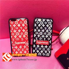 ファッションショー眩しいキラキラsupremeブランドLVコラボ ソフトiPhone8/7sスマホケース アイフォン6S/6plus/7/7plus携帯カバー赤いシュプリーム