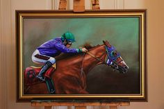 """""""Victor Espinoza & California Chrome"""" by tierpastell.de, Oil on Canvas, 40*60cm, Photoref. with friendly permission by Jeanine Williams <3 what a fun to paint this great Pic!   #californiachrome #oilpainting #racehorse #santaanitapark #racecourse #painting #victorespinoza #frame #horsepainting #horse #pferde #rennpferd #horseracing #dubaiworldcup #dubaiworldcup2016#horseofinstagram"""