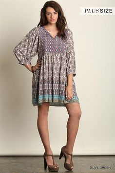 d9ef93817a0 Umgee Plus Della Tunic - Babydoll peasant style tunic with partial button  down front. Bohemian