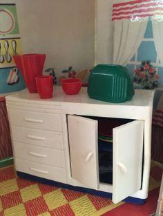 Wonderful RARE Ideal DELUXE KITCHEN SET Vintage Dollhouse Furniture 1:16 Renwal Marx  Tin | Vintage Dollhouse, Dollhouse Furniture And Kitchen Sets
