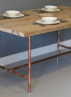reclaimed urban wood dining table or desk with real copper industrial pipe legs free shipping - Copper Kitchen Table