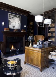 Navy and Camel Home Office with Modern Photography