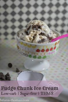 This Fudge Chunk Ice Cream is THM:S, low carb, sugar free, and gluten free.