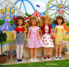 Vintage Tammy dolls go to the Fair - Photo by Debby Emerson - pink gingham dress made by SweetPetiteShop on etsy.com