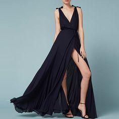 HDY Haoduoyi Autumn Fashion Women Off Shoulder Bow Plunge Neck Split High Waist Sexy Slim Casual Solid Maxi Dress