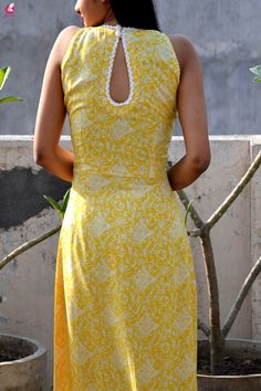 Buy Lemon Printed Modal Rayon Sleeveless Long Kurti Online in India Kurti Back Neck Designs, Simple Kurta Designs, Kurti Sleeves Design, Kurta Neck Design, Neck Designs For Suits, Sleeves Designs For Dresses, Neckline Designs, Kurta Designs Women, Dress Neck Designs