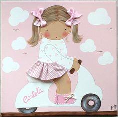 Cuadro artesanal - niña vespa rosa