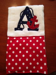 Nautical burp rag Anchor burp cloth Baby by BrinleysBowtique32
