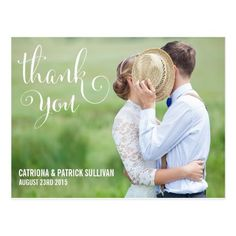WHIMSICAL SCRIPT   WEDDING THANK YOU POSTCARD