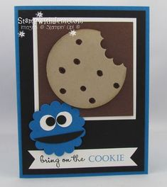 Stampin' Up! PunchArt   by Jenn Tinline at Stamp with Jenn: Cookie Monster