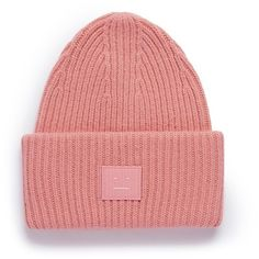 Acne Studios 'Pansy L Face' emoticon patch wool blend beanie (2.580 ARS) ❤ liked on Polyvore featuring accessories, hats, pink, patch hat, foldable hat, beanie hat, pink beanie and rim hat