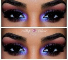 """How gorgeous is that purple in her inner lids!  MAC """"Stars and Rockets"""" eyeshadow.  Gotta add this to my collection!"""