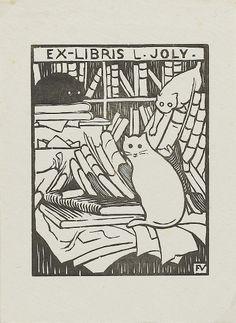 Ex libris con gato.