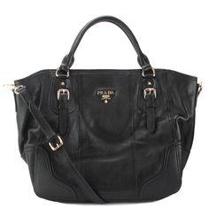 Prada BR3787 Vitello Daino Leather Shoppers Handbag - Black