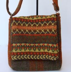 Harris Tweed small across body bag in brown and green £40.00
