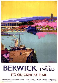 Canvas Print (other products available) - London & North Eastern Railway (LNER) poster promoting rail travel to Berwick upon Tweed, Northumberland. Artwork by Frank H Mason.<br> - Image supplied by National Railway Museum - Canvas Print made in Australia Posters Uk, Train Posters, Railway Posters, Vintage Travel Posters, Poster Prints, Art Prints, Party Vintage, Berwick Upon Tweed, Quick Travel