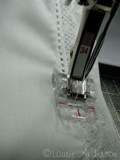 Attaching lace with pin stitching