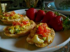 Egg Bruschetta with Fresh Strawberry.