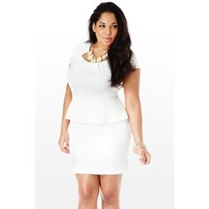 New Plus Size White Peplum Dress with Sheer Front Panel 1x 2x 3x ...