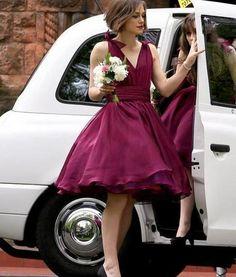 V-Neck Fuchsia Chiffon Bridemaid Dress,A Line Short Party Dress with Bow